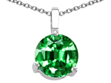 Tommaso Design 7mm Round Simulated Emerald Pendant