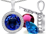 Switch-It Gems Round 12mm Simulated Sapphire Pendant with 12 Interchangeable Simulated Birthstones