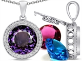 Switch-It Gems Round 12mm Simulated Alexandrite Pendant with 12 Interchangeable Simulated Birthstones