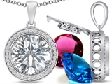 Switch-It Gems Round 12mm Simulated Diamond Pendant with 12 Interchangeable Simulated Birthstones