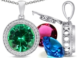 Switch-It Gems Round 12mm Simulated Emerald Pendant with 12 Interchangeable Simulated Birthstones