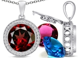 Switch-It Gems Round 12mm Simulated Garnet Pendant with 12 Interchangeable Simulated Birthstones