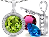 Switch-It Gems Round 12mm Simulated Peridot Pendant with 12 Interchangeable Simulated Birthstones