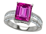 Original Star K 10x8mm Emerald Cut Created Pink Sapphire Engagement Ring