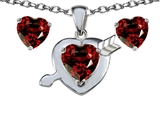 Original Star K 8mm Genuine Garnet Heart with Arrow Pendant Box Set with Free matching earrings