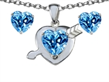 Original Star K 8mm Simulated Blue Topaz Heart With Arrow Pendant Box Set With Free Matching Earrings
