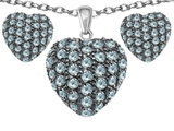Star K™ Simulated Aquamarine Puffed Heart Love Pendant with matching earrings style: 307814