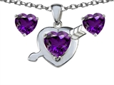Original Star K 8mm Genuine Amethyst Heart With Arrow Pendant Box Set with Free Matching Earrings