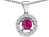 Original Star K Round 6mm Created Pink Sapphire Pendant