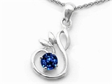 Original Star K Round Created Sapphire Swan Pendant