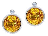Original Star K Round Genuine Citrine Earring Studs With High Post On Back