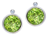 Original Star K Round Genuine Peridot Earring Studs With High Post On Back