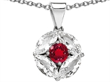 Original Star K Round Created Ruby Pendant