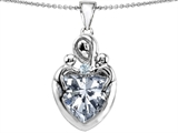 Original Star K™ Large Loving Mother Twin Children Pendant with 12mm Heart Genuine White Topaz