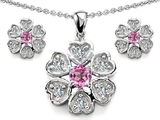 Original Star K™ Created Pink Sapphire Flower Pendant Box Set With Matching Earrings
