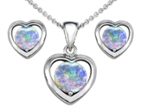 Original Star K™ Round Simulated Opal Heart Earrings with matching Pendant style: 307831
