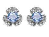 Star K™ Flower Earrings With Round 5mm Simulated Aquamarine style: 307833