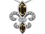 Original Star K Genuine Smoky Quartz Fleur De Lis Pendant