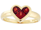 Tommaso Design™ Genuine Garnet Invisible Set Heart Ring