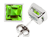 Tommaso Design Square Cut Genuine Peridot Earrings