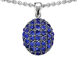 Original Star K Oval Puffed Pendant with Created Sapphire