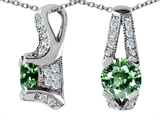 Star K™ Round Simulated Green Sapphire Designer Pendant Necklace style: 307844