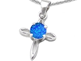 Original Star K Round Created Blue Opal Cross Pendant