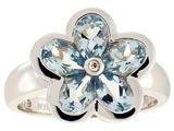 Tommaso Design Pear Shape Genuine Aquamarine Flower Ring