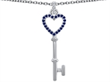 Original Star K Round Created Sapphire Heart Shape Key Pendant