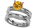 Original Star K 7mm Round Simulated Yellow Sapphire Engagement Wedding Set