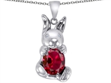 Original Star K Love Bunny Pendant With Created Ruby Oval 10x8mm