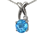 Tommaso Design™ X Shape Designer Inspired Pendant with Diamond and Checkerboard Cut Genuine Blue Topaz