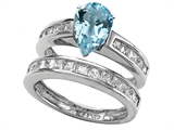 Original Star K 8x6mm Pear Shape Simulated Aquamarine Wedding Set