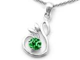 Original Star K™ Round Simulated Emerald Swan Pendant style: 307869