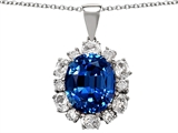 Original Star K Oval 12x10mm Created Sapphire Pendant