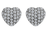 Original Star K Small Puffed Heart Love Earrings with Cubic Zirconia