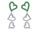 Original Star K Dangling Heart with Simulated Emerald Heart Earrings