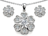 Original Star K Cubic Zirconia Flower Pendant Box Set With Matching Earrings