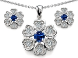 Original Star K Created Sapphire Flower Pendant Box Set With Matching Earrings