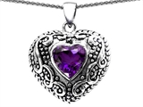 Star K™ Bali Style Puffed 7mm Heart Simulated Amethyst Pendant Necklace style: 307893