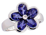 Tommaso Design™ Pear Shape Genuine Iolite Flower Ring