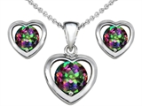 Original Star K™ Rainbow Mystic Topaz Heart Pendant with matching earrings style: 307895