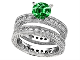 Star K™ 7mm Round Simulated Emerald Eternity Wedding Set style: 307897