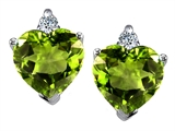 Original Star K 7mm Heart Shape Genuine Peridot Earrings