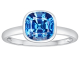 Tommaso Design™ 7mm Cushion Cut Genuine Blue Topaz Engagement Solitaire Ring