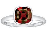 Tommaso Design 7mm Cushion Cut Genuine Garnet Engagement Solitaire Ring