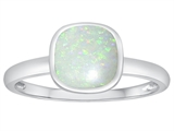 Tommaso Design 7mm Cushion Cut Genuine Opal Engagement Solitaire Ring