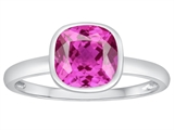 Tommaso Design 7mm Cushion Cut Created Pink Sapphire Engagement Solitaire Ring