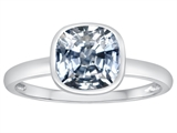 Tommaso Design™ 7mm Cushion Cut Genuine White Topaz Engagement Solitaire Ring