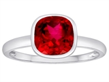 Tommaso Design™ 7mm Cushion Cut Created Ruby Engagement Solitaire Ring